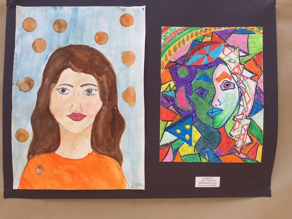 Student art - two paintings of a woman, one is realistic, one is abstract