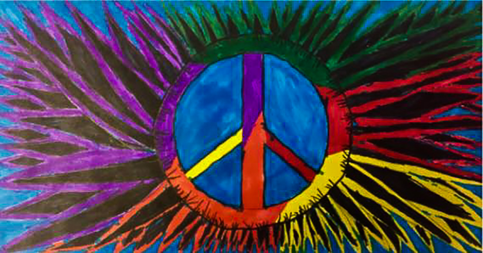 Peace sign art painted by a student using purple, blue, green, red, yellow