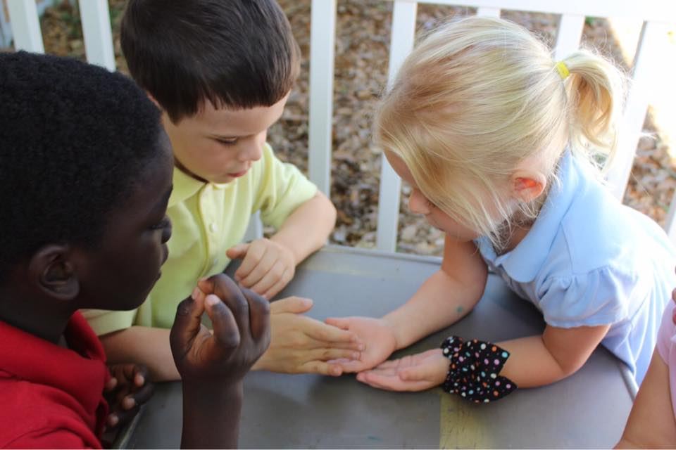 Three students huddle together with hands out examining something one student is showing