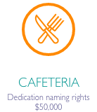 """Fork and knife icon in orange circle with caption """"Cafeteria dedication naming rights $50,000"""""""