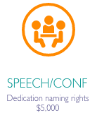 """Speech conference icon in orange circle with caption """"Speech/Conf Dedication naming rights $5000"""""""