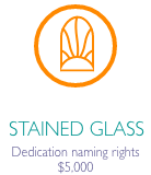 """Stained glass icon in orange circle with caption """"Dedication naming rights $5000"""""""