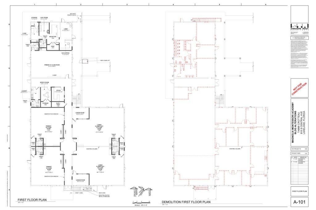 First floor plan and demolition
