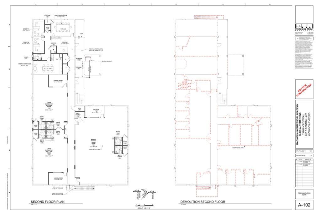 Second floor plan and demolition